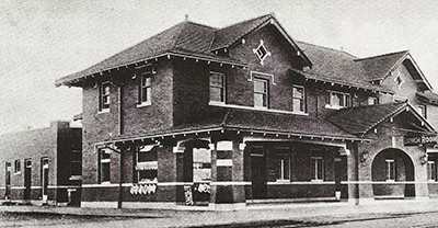 The Harvey House as it sat next to the Santa Fe Depot
