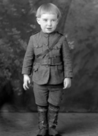 Child in World War I military uniform